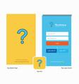 company question mark splash screen and login vector image vector image