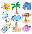 doodle of element summer set collection vector image vector image