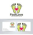 foot love logo design vector image vector image