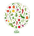fresh salad food nutrition healthy concept vector image
