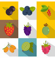 fruits icons set flat style vector image