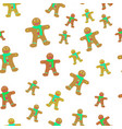 gingerbread man decorated icing seamless pattern vector image
