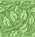 green organic leaves seamless pattern vector image vector image