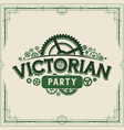 green steampunk party logotype design victorian vector image vector image