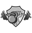 hand lifting barbell kettlebell crest grayscale vector image vector image