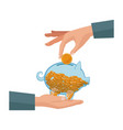 hand with piggy putting coin money vector image vector image