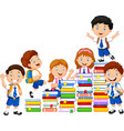 happy schoolkids playing with stack of book vector image vector image