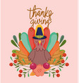 happy thanksgiving day turkey flowers fruit vector image vector image