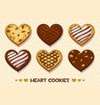 heart shaped gingerbread and chocolate cookies vector image vector image