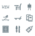 home stuff icon set gray vector image vector image