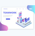 isometric business teamwork concept business vector image vector image