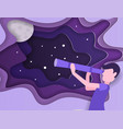 kid is looking the stars with telescope universe vector image