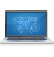 laptop frontal cad systems vector image vector image