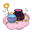 magic witch cauldron with potion bottle vector image vector image