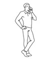 man standing and talking on the phone front view vector image