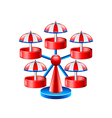 Mini wheel carousel isolated on white vector image vector image