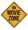 movie zone vintage rusty metal sign vector image vector image