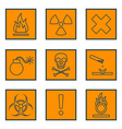 orange square black outline hazardous waste vector image