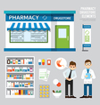 pharmacy drugstore set design shop store package vector image vector image