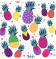 pineapple fruit summer color seamless pattern vector image vector image