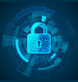 polygonal lock design digital data protect vector image