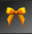realistic shiny orange satin bow isolated vector image