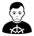 sad captain black icon vector image vector image