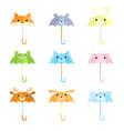 set cartoon funny umbrellas with animal faces vector image vector image