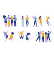 set young jumping friend people characters vector image