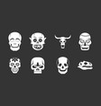 skull icon set grey vector image vector image