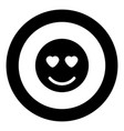 smile icon black color in circle vector image vector image