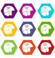 snowboard helmets icon set color hexahedron vector image vector image