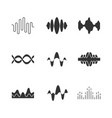sound and audio waves glyph icons set silhouette vector image vector image