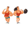 strongman shakes biceps lifting large barbell vector image