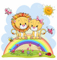 two lions are sitting on the rainbow vector image vector image