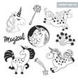 unicorn set vector image vector image