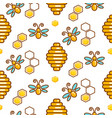vespiary and bees seamless outline pattern vector image vector image
