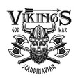 vikings emblem or t-shirt print with bearded skull vector image vector image