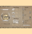 vintage bakery menu design on cardboard texture vector image vector image