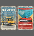 vintage cars wheel vehicle engine auto service vector image vector image