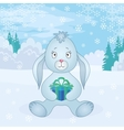 Rabbit girl with box in winter forest vector image