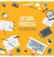 Web design concept with objects and devices vector image