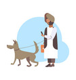 arabic man walking with dog arab character in vector image vector image