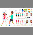 badminton player male female animated vector image vector image