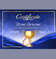 baseball game certificate diploma with golden cup vector image vector image