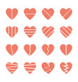 broken heart icons set vector image vector image