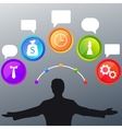 Business man and colorful bubble icon vector image