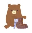 camping bear boot and lantern nature cartoon vector image vector image
