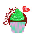 chocolate cupcake with green cream vector image vector image