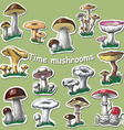 collection of isolated mushrooms Sticker elements vector image vector image